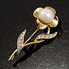 Gold Tone Faux Pearl Daisy Brooch