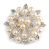 Stunning Wedding Imitation Pearl AB Crystal Corsage Brooch (Silver Tone)