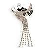 'Dancing Couple' Crystal Brooch (Clear&Black)