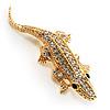 Small Crystal Crocodile Brooch (Gold Tone)