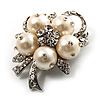 Small Bridal Faux Pearl Floral Brooch (Silver Tone)