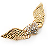 Crystal Heart And Wings Brooch (Gold Tone)