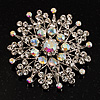 Sparkling AB Crystal Corsage Brooch (Silver Tone)