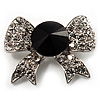 Smart Crystal Bow Brooch (Silver,Clear&Black)