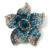 Small Sky Blue Diamante Flower Brooch (Silver Tone)
