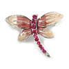 Tiny Enamel Diamante Butterfly Brooch (Light Cream&Pink)