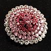 Pink Crystal Corsage Brooch (Silver Tone)