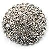 Clear Crystal Corsage Brooch (Silver Tone)