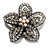 Five Petal Diamante Floral Brooch (Black&Clear)