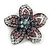 Five Petal Diamante Floral Brooch (Black&Purple)