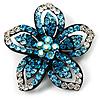 Five Petal Diamante Floral Brooch (Black&Blue)