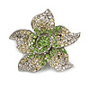 Small Green Diamante Flower Brooch (Silver Tone)