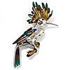 Oversized Exotic Multicoloured Crystal Bird Brooch