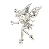 Magical Fairy With Clear Crystal Wings Brooch (Silver Tone)
