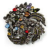 Dramatic Diamante Corsage Brooch (Black&Multicoloured)
