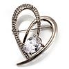 Open CZ Heart Brooch (Silver Tone)