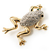 Crystal Leaping Frog Brooch (Gold Tone)
