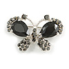 Small CZ Butterfly Brooch (Silver&Jet Black)