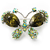 Small CZ Butterfly Brooch (Silver&Pale Olive)