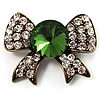 Vintage Crystal Bow Brooch (Antique Gold, Clear&Emerald Green)