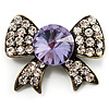 Vintage Crystal Bow Brooch (Antique Gold, Clear&Lilac)