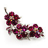 Statement Crystal Floral Brooch (Silver&Cranberry) - 55mm Across