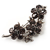 Swarovski Crystal Floral Brooch (Silver&Dim Grey)