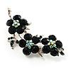 Swarovski Crystal Floral Brooch (Silver&Emerald Green)