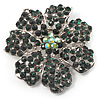 Emerald Green Crystal Corsage Flower Brooch (Silver Tone)