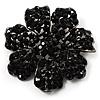 Jet-Black Crystal Corsage Flower Brooch (Black Tone Metal)