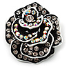 Romantic Vintage Dimensional Crystal Rose Brooch (Black&White)