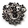 Jet-Black Diamante Corsage Brooch (Silver Tone)