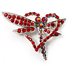 Bright Red Crystal Butterfly And Heart Brooch (Silver Tone)