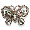 Unique Swarovski Crystal Butterfly Brooch (Silver Tone)