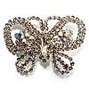 Unique Swarovski Crystal Butterfly Brooch (Silver Tone)
