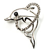 Cute Diamante Dolphin Brooch (Silver Tone)