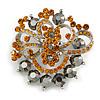 Amber Coloured & Jet-Black Diamante Corsage Brooch (Silver Tone)