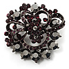 Purple&Jet-Black Diamante Corsage Brooch (BlackTone)