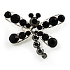 Small Jet Black Crystal Dragonfly Brooch (Silver Tone)