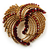 Vintage Antique Gold Bow Crystal Brooch (Ruby Red)