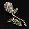 Vintage Crystal Rose Brooch (Silver&Clear&Green)