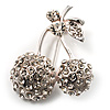 Clear Crystal Double Cherry Fashion Brooch (Silver Tone)