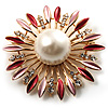 Golden Imitation Pearl Starburst Corsage Brooch (Pink&Red)