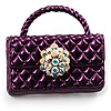 Stylish Crystal Bag Brooch (Purple)
