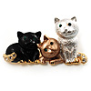 'Adorable Kittens' Fashion Brooch (Gold Tone)