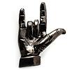 Gun Metal 'Rock & Roll' Brooch - 70mm L