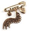'Love', Crystal Heart, Flower And Tassel Safety Pin Brooch (Burn Gold Finish)