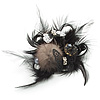 'Fluffy Paradise' Hair Clip/ Brooch (Black & White) - Catwalk 2014