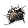 'Fluffy Paradise' Hair Clip/ Brooch (Black & White) - Catwalk 2014