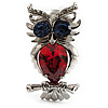 Silver Tone Stunning CZ Owl Brooch (Red & Blue)